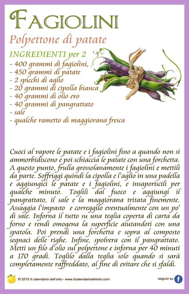 Fagiolini: polpettone di patate
