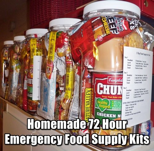 Homemade 72 Hour Emergency Food Supply Kits. Easy to make, easy to hide and store and easy to grab if you have to get out of your house in an emergency.