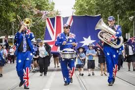 This is a picture of a Australia Day parade celebration in 2015. On January 26th every year, Australians honor their past, present, and future. At first, only the state of South Wales celebrated this holiday in 1838, years later it caught on in the other five states. This national holiday has multiple names, a few of them are First Landing Day, Anniversary Day, and Foundation Day. Finally all six states agreed on a name created by the state of Victoria, the name was Australia Day.