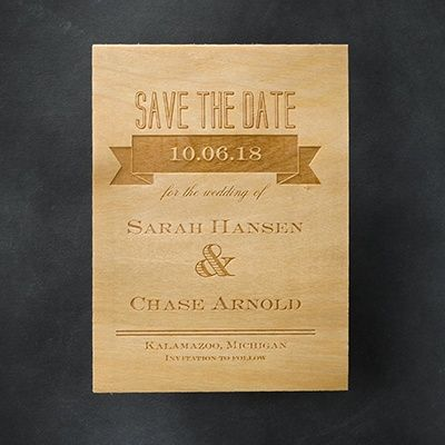 Etched Banners - Save the Date.  A banner draws attention to the very important information displayed on this etched-wood save the date.