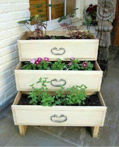 Create a beautiful tiered planter box from repurposed drawers!