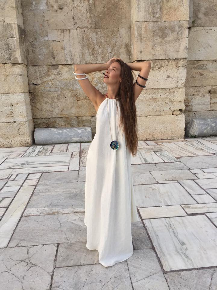 off-white linen dress by Kika Karabela for Agathi E.E.-KIKA  (accessories Aelia by Fotini Kostouli -  model : Lia Igam / Trends Control ) 49,Arachovis str./10681/Athens , GR contact : agathi.ee@gmail.com +302108223604