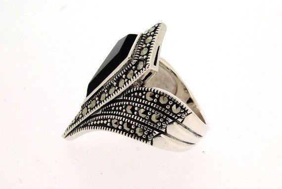 Plata Marcasita negro del anillo Art Deco
