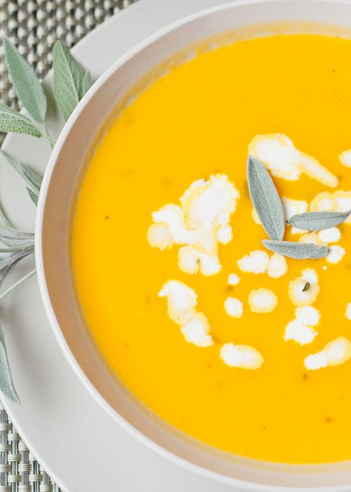 Butternut Squash Soup with Apples and Fresh Sage, substitute coconut ...