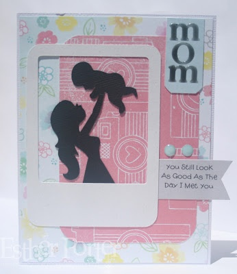 Using your imagination, you can create a wonderful Mother's Day card just as Esther did here. She combined the adorable Mom and Baby from KATE'S SILHOUETTES SVG COLLECTION and a few basic shapes together.  So simple, but very striking!
