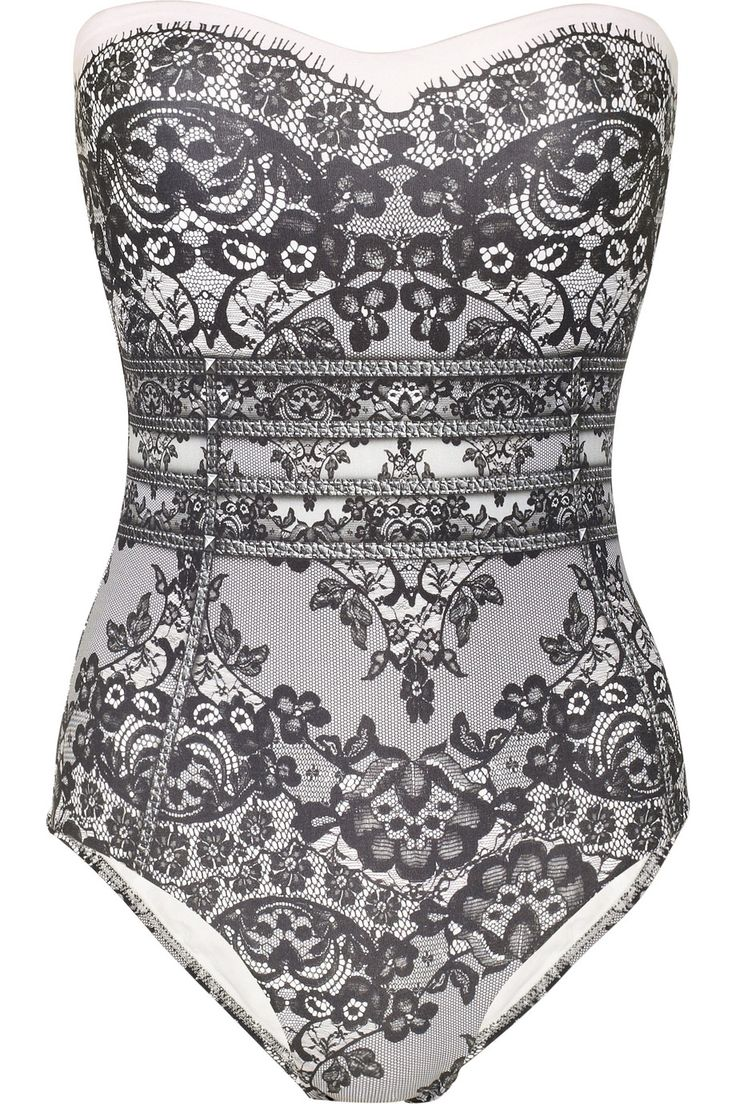 JETS BY JESSIKA ALLEN WHITE LABEL Delicate lace-print bandeau swimsuit - If this had straps I'd wear it.