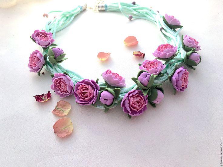 """Купить Колье на шелковых шнурах полимерная глины """"Пионы любви"""" - розовый, мята, мятный"""