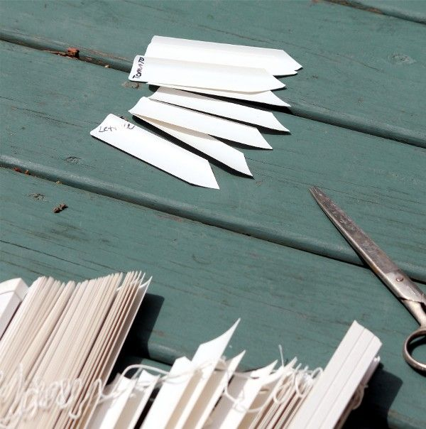 old window blinds into plant labels