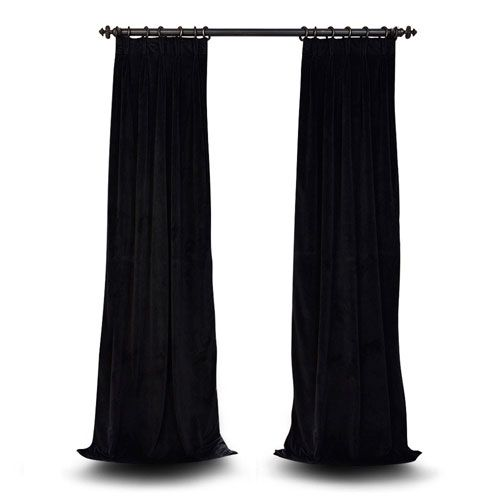 Evelyn Warm Black 25 x 108-Inch Evelyn French Pleated Blackout Velvet Curtain