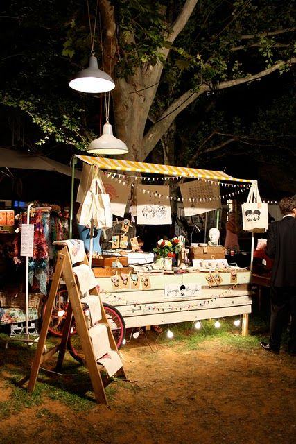 The George Frizzle at Fremantle Bazaar stall shows how to make your stall stand out at nighttime - plenty of fairy lights!