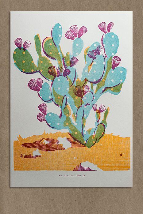 Prickly Pear - cacti screenprint - Lilco design & letterpress studio
