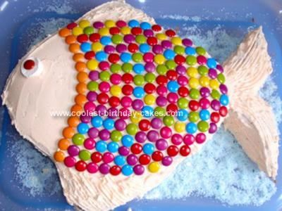 Homemade Bright Fish Cake: I made this Bright Fish Cake for my daughter's 2nd birthday party. The day before the party I combined two packet mix cakes together and baked it in a