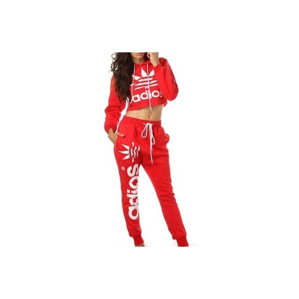 ADIOS RED JOGGER SUIT ($90) ❤ liked on Polyvore featuring activewear, outfits, shirts, red crop shirt, red shirt, crop shirts, cotton shirts and red cotton shirt