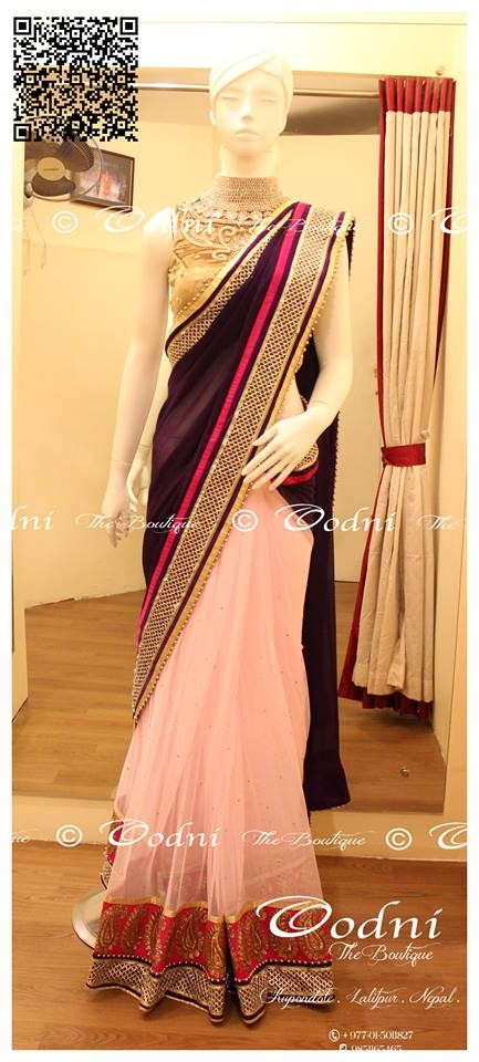 Baby Pink net bottom with georgette pallu . High neck gold blouse