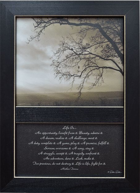 Life Is... is a beautifully inspiring message written by Mother Teresa. The framed print in $21.99 at Kruenpeeper Creek Country Gifts: Is Framed Print, Favorite Things, Life Is Framed, Country Prints, Country Gifts, Ilustraciones Prints, Framed Prints, Inspiring Message
