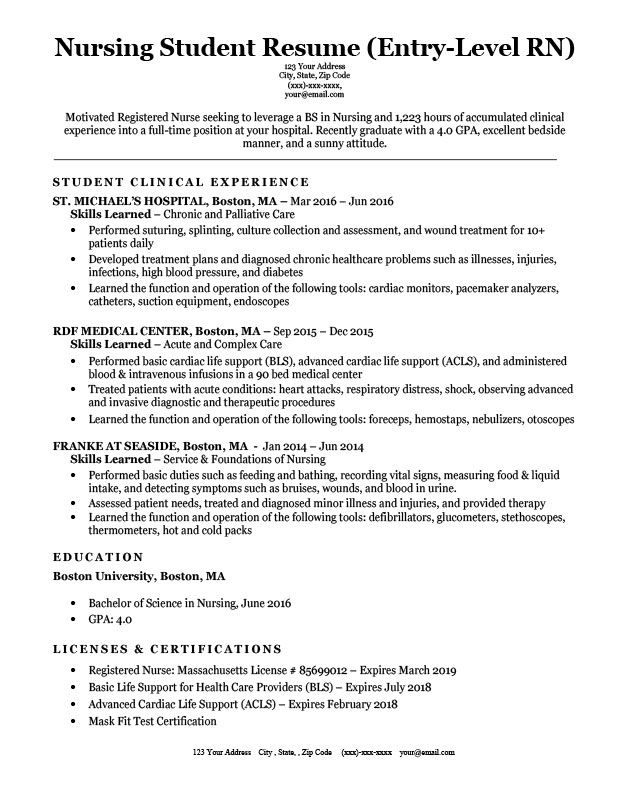 entry level nursing student resume sample download