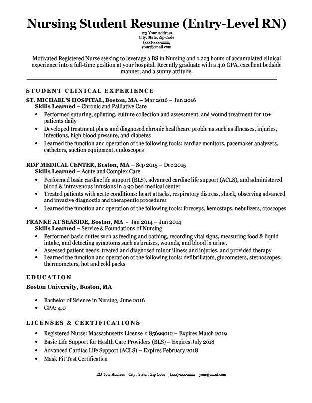 sample resume for nursing assistant student