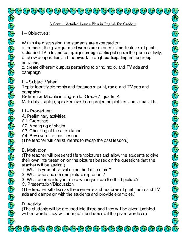 A Semi – detailed Lesson Plan in English for Grade 7 I