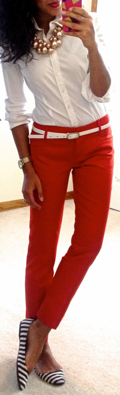 Work Outfit: White Button down, red pants, white belt, striped flats- Love the look!  Especially the necklace