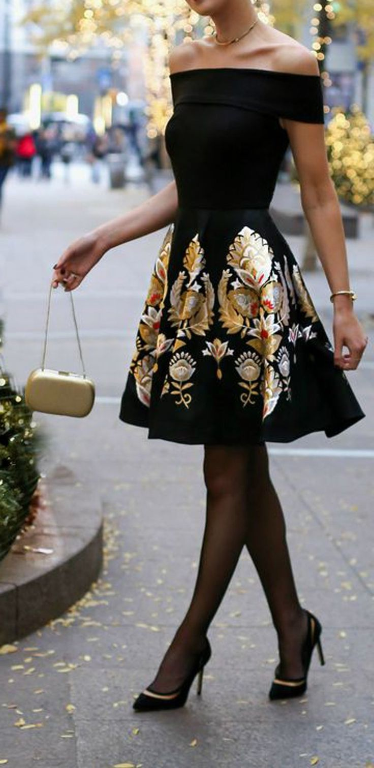 Christmas New Years Party Dresses Outfit Ideas - Off the Shoulder Sparkly Gold Skater Skirt - MyBodiArt.com