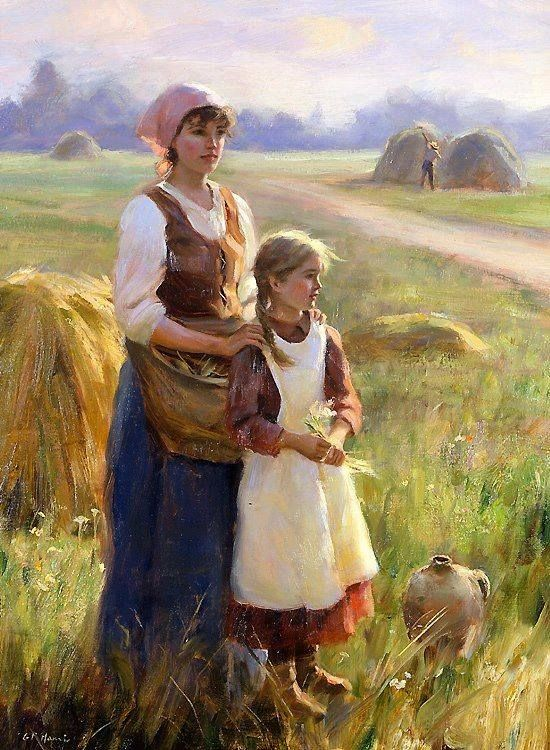 """""""A peaceful time"""" By Gregory Frank Harris, from California, US (b. 1953) - oil on canvas; 61 x 54.7 cm; 24 x 18 in."""