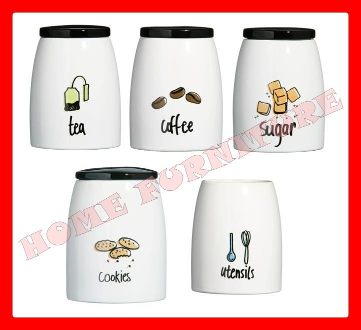 Modern kitchen canister set pc tea coffee sugar cookies canister jars set doodle ebay - Modern tea and coffee canisters ...