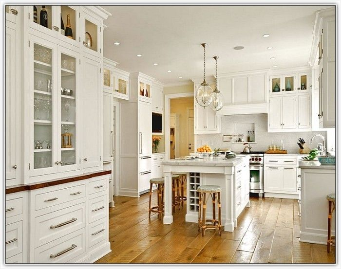 Tall White Kitchen Cabinet Modern Looks Extra Tall Upper