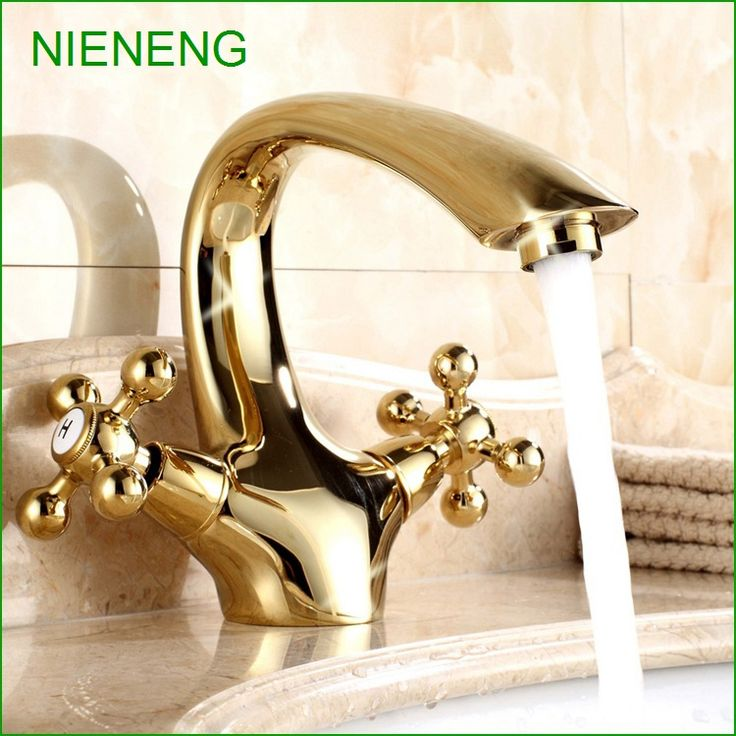 NIENENG Bathroom Faucets Water Sink Faucet Golden Tap Sink Basin Taps Gold Color WC Hotel Accessory Sanitary Wares ICD60136 #Affiliate