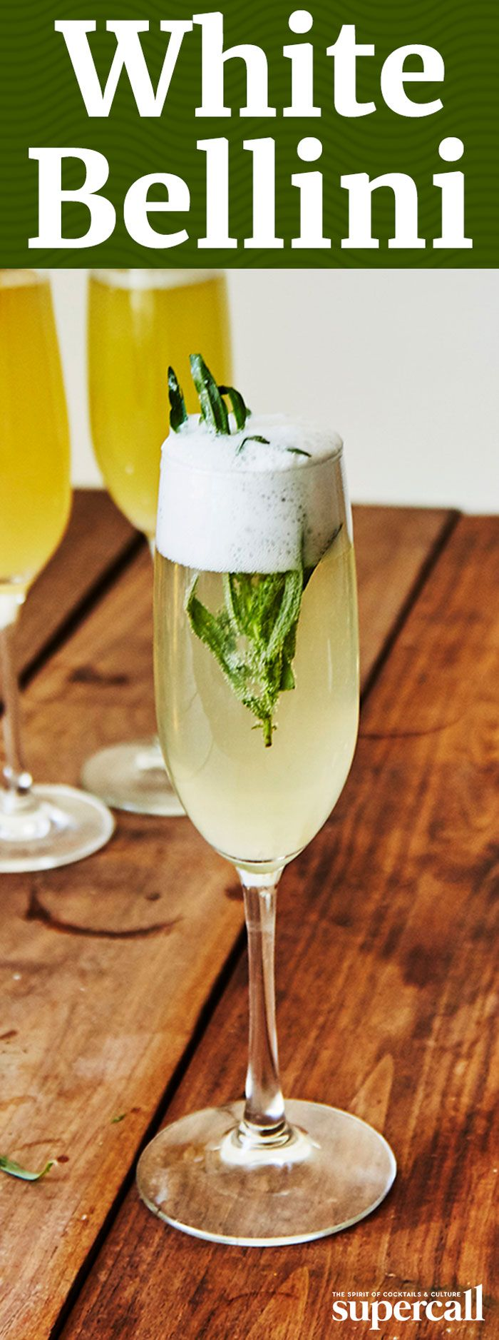 Inspired by the White Negroni, this effervescent brunch drink combines the bitter citrus flavors of gentian-based Suze aperitif with nectary sweet creme de peche, a clear, peach liqueur from France. The sprig of fresh tarragon as garnish not only adds a fragrant bouquet to every sip, it elevates this Bellini to savory new heights, making it extremely food-friendly.