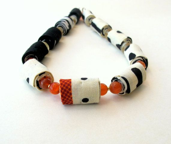 Ooak asymmetrical fabric necklace in black and cream by Gilgulim, $49.00