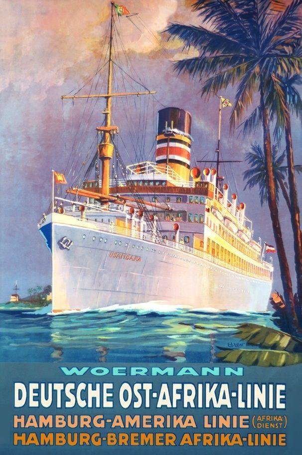 Africa Map Horn Of Africa%0A Steam Ship USAMBARA German East Africa Line Poster