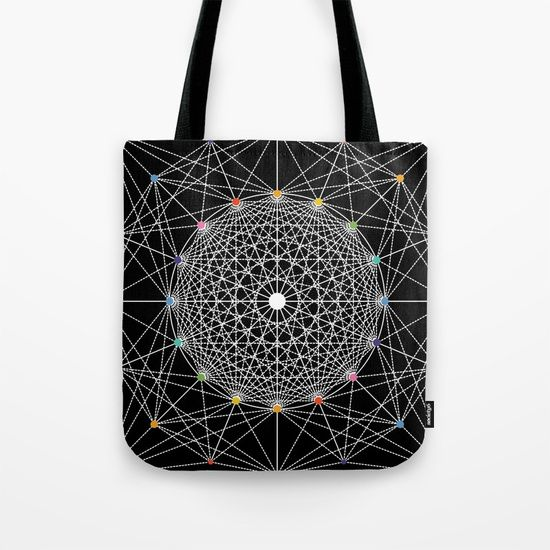 Geometric Circle Black/White/Colour tote bag by Fimbis   ___________________________ #blackandwhite #monochrome #shopping #backtoschool ___________________________  Our quality crafted Tote Bags are hand sewn in America using durable, yet lightweight, poly poplin fabric. All seams and stress points are double stitched for durability.