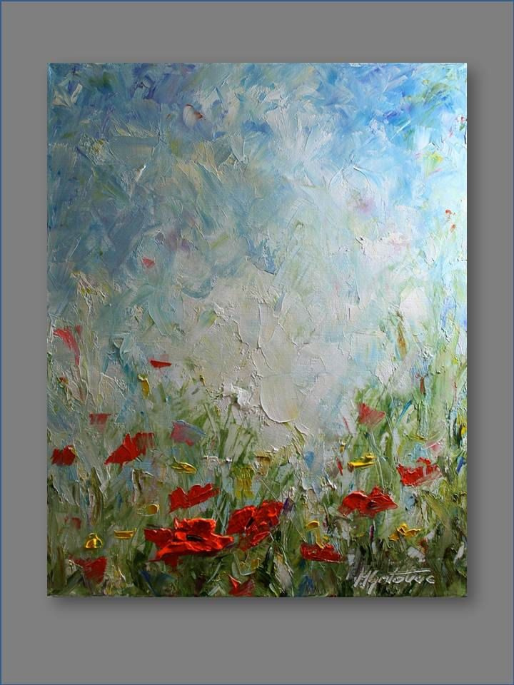 Original Oil Painting Poppy Field II Modern Contemporary