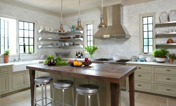 Exceptionnel Stunning Kitchen Design With Wall To Wall White Carrara Marble Subway Tile  Backsplash And With Ample Windows To Let The Light In Upon Gorgeous Gray  Kitchen ...