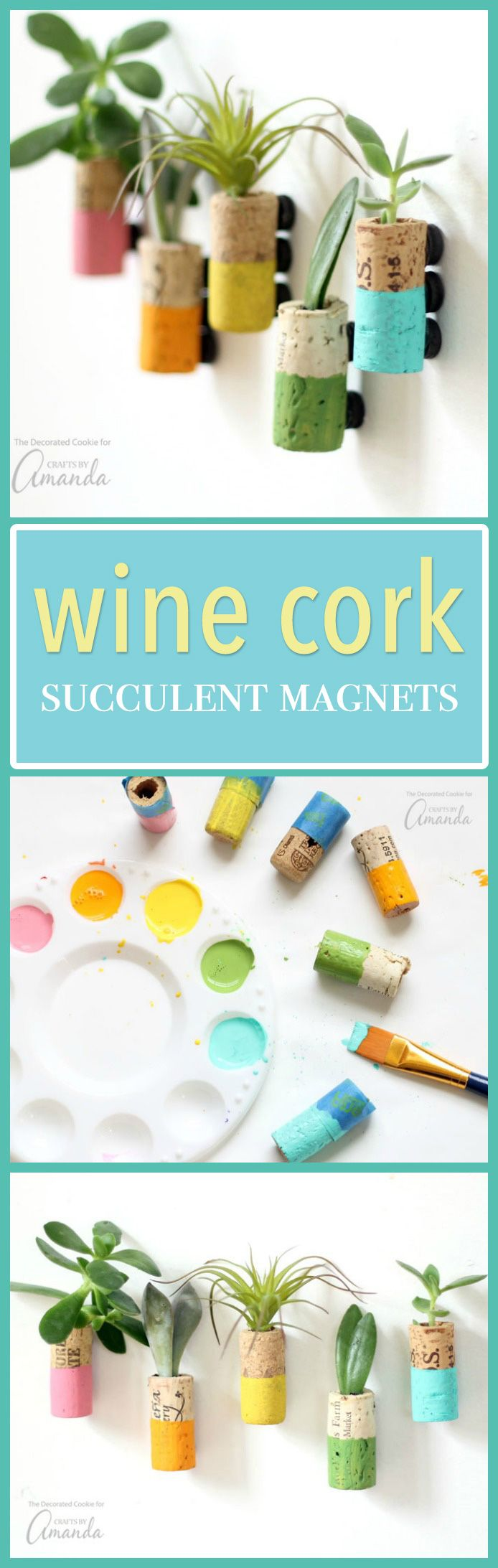 These wine cork succulent magnets are colorful magnets made from recycled wine corks. These pretty little staples will compliment your fridge perfectly!