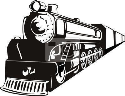 Fotomurale Locomotiva a vapore in stile stencil