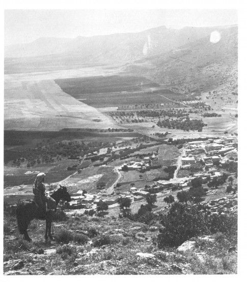 Horseman overlooking the village of Daburiyyah on the slopes of Mount Tabor, Galilee. ( R: Khalil Raad collection/ 1876-1918)