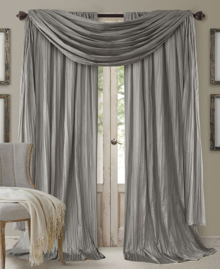 Add a dramatic flair to any room in your home with the crinkled silk-look of the Elrene Athena panels and beautiful long length coordinating scarf valance. | Polyester | Machine washable | Imported |