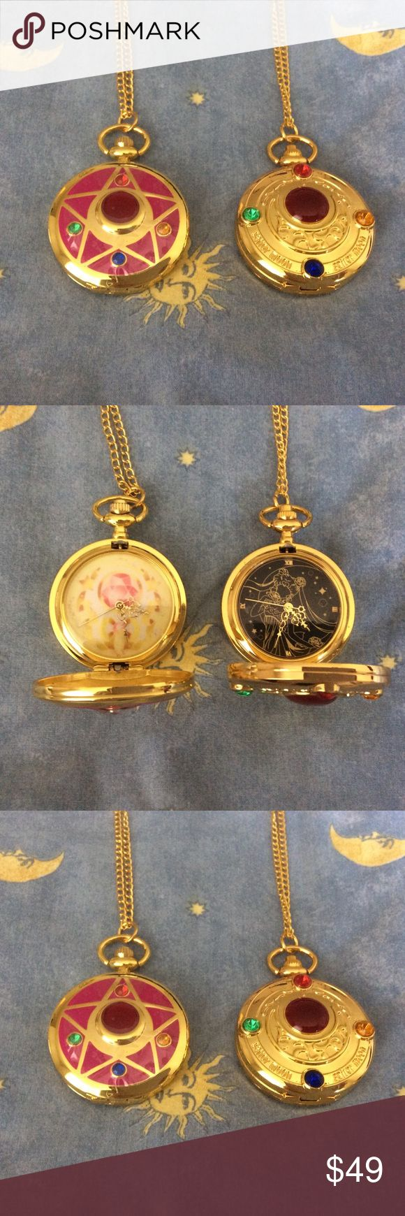 "Sailor Moon necklace locket watch jewelry anime Awesome locket featuring Sailor Moon purchased in Japan last year. You are getting the right gold one...the pink one sold~ New never worn and still had the protective plastic attached so it may look blurry but it's sharp and cute!   Watch is is working condition! Approximately 2"" circle and 15"" drop or 30"" total length necklace   Super cute and unique for any Sailor Moon : anime : Japanese : manga : kawaii : fan .... Japanese Jewelry Necklaces"