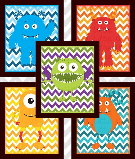 INSTANT DOWNLOAD - Set of 5 Monster Mania Printable Wall Art Nursery Kid's Room Decor 8x10 Blue Red Orange Green Purple Yellow PDF File on Etsy, $20.00