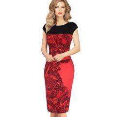 Dámské elegantní černo-červené šaty - SLEVA 60% + POŠTOVNÉ ZDARMAPošta Zdarma