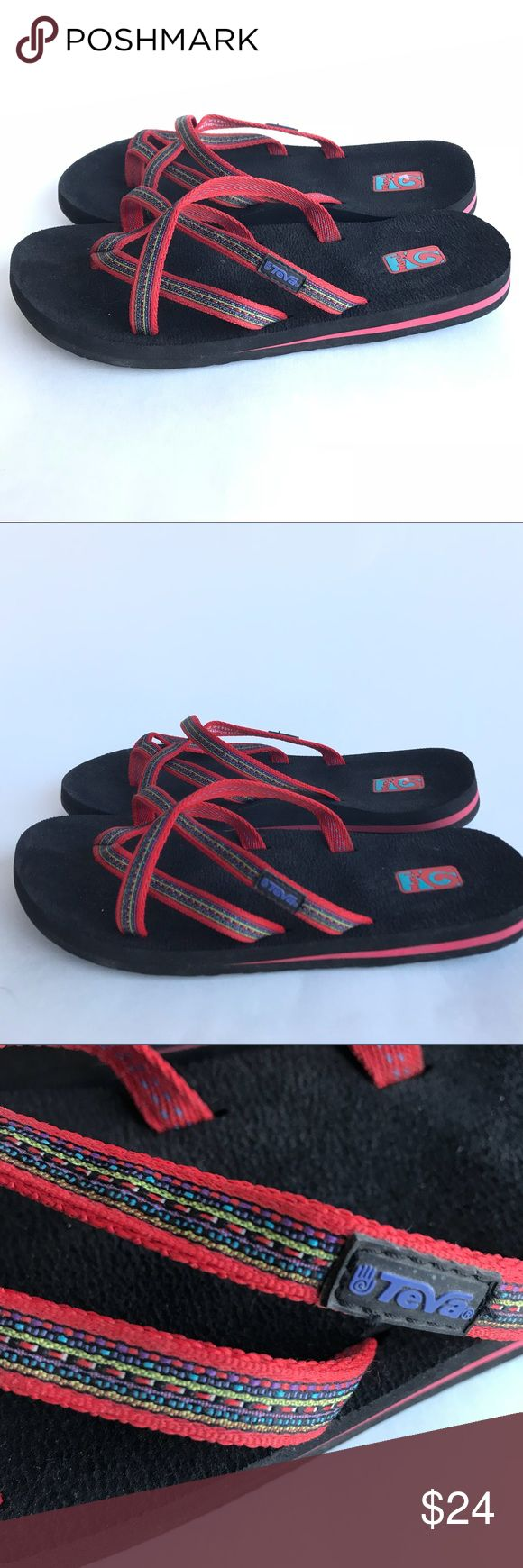 Teva Flip Flops Size 9W Mush Red   Thong Sandals Teva Flip Flops Size 9W Mush Red Toe Thong Sandals Strappy Womens Slip Ons Teva Shoes Sandals