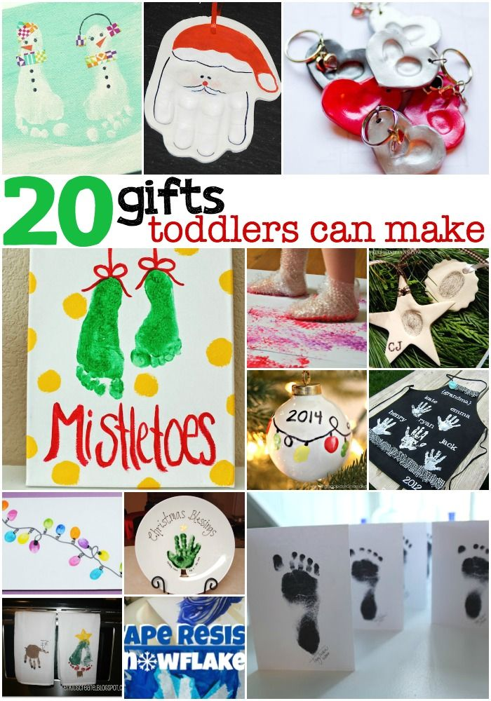 "I've pulled together a list of 20 Holiday Gifts Toddlers Can Make...like the little, itty-bitty babies just now getting into the whole ""toddler"" thing.:"