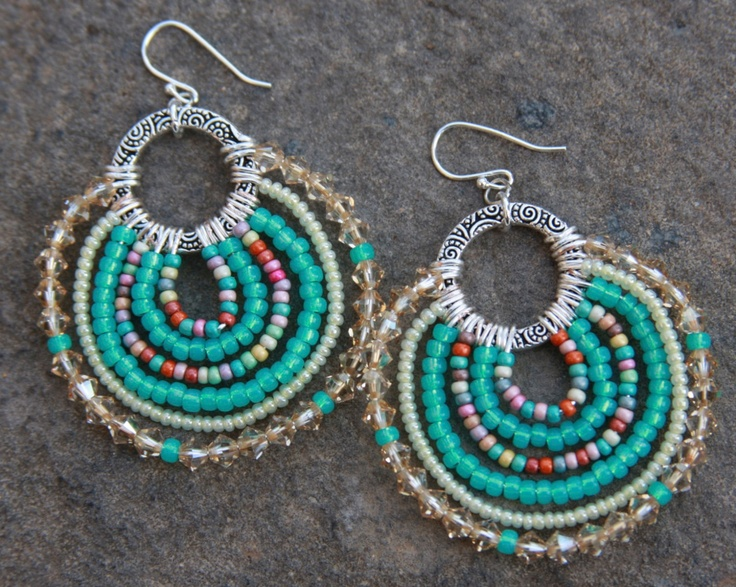 Green turquoise, light yellow and multi, handmade beaded earrings.