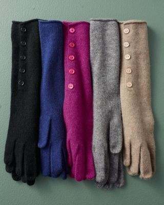 Button-Detail Cashmere Gloves