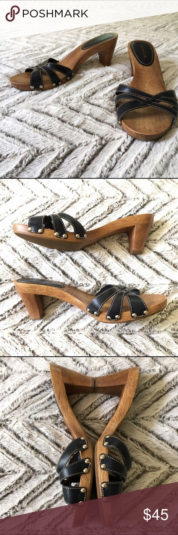 Ann Taylor Black Leather Sandal Heeled Mules 8 Ann Taylor Black woven Leather Sandals with wood grain Heels. Slip-on/slide/mules. Size 8. In excellent pre-owned condition!  🎀Search my closet for your size to: 🎀BUNDLE and SAVE! 🎀NO TRADES NO HOLDS 🎀Thank you for stopping by!❤️ Ann Taylor Shoes Mules & Clogs