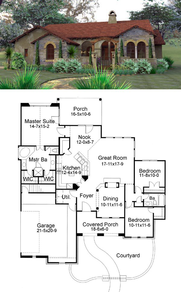 25 best ideas about tuscan style homes on pinterest for Tuscan style house plans with courtyard