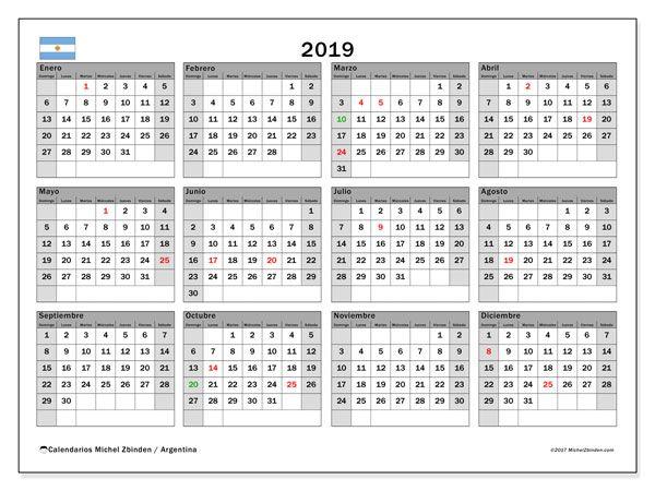 Calendario Diciembre 2019 Para Imprimir Argentina.Calendario 2019 Argentina 2019 Calendario Mensual Para