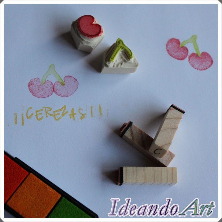 Sellos de cerezas carvados a mano by IdeandoArt