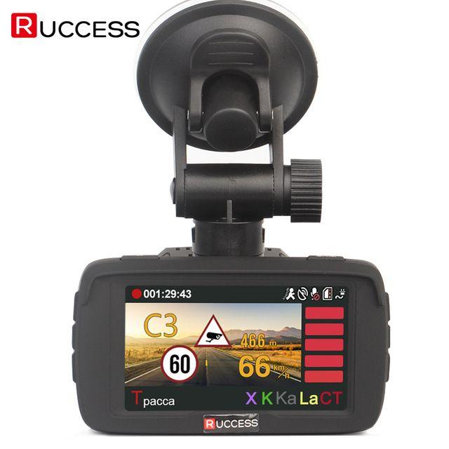 Top Sale $110.99, Buy RUCCESS Car DVR Radar Detector GPS 3 in 1 Car-detector Camera Full HD 1296P Speedcam Anti Radar Detectors Dash Cam 1080p WDR